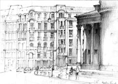 Sketh. Warsaw. Square of Three Crosses. by KrystianWozniak on DeviantArt