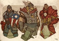 Denis Medri (The same guy that brought you the Rockabilly Batman), redesigns The Avengers as fantasy heroes.