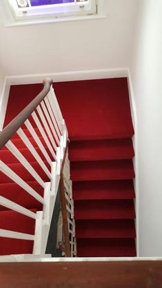 Best images_ photos and pictures about red stair carpet ideas _staircarpetideas _redstaircarpet R Best Carpet For Stairs, Stairway Carpet, Carpet Stairs, Carpet Cleaning Business, Carpet Cleaning Company, Types Of Stairs, Staircase Makeover, Staircase Ideas, Hallway Ideas