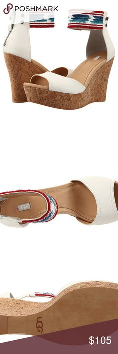 UGG Jacinda NEW in box, size 8.5, WHITE •	Get into a vacation state of mind with the resort-ready UGG® Jacinda Serape Beads wedge! •	Uppers of smooth leather. •	Colorful serape-inspired beading lends an artisnal element to this bohemian style. •	Leather insole lining. •	PORON® and foam insole for added comfort. •	Synthetic outsole for durable wear. •	Heel Height: 4 1⁄4 in •	Weight: 10 oz •	Platform Height: 1 in •	Imported from China SOLD OUT IN STORES and ONLINE...this is a great deal for…