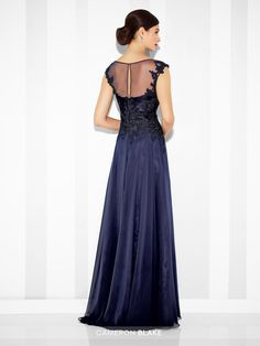 Cameron Blake - 117614 - Chiffon and lace A-line gown with scalloped lace illusion cap sleeves and bateau neckline, hand-beaded lace bodice, illusion back with keyhole. Matching shawl included.Sizes: 4 – 20Colors: Midnight, Aqua, Wine