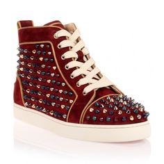 Christian Louboutin Louis Woman High-Top Sneaker (3.230 BRL) ❤ liked on Polyvore featuring shoes, sneakers, red, red sneakers, red hi tops, high top shoes, red high top trainers and christian louboutin shoes