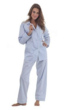Woven white sateen stripe alternating with a blue matte stripe on our classic PJ.Drawstring waist has a touch of elastic for an easy fit with just the right amount of stretch. 100% fine cotton sateenProudly made  ...