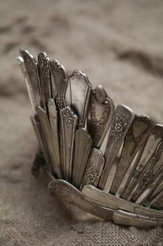 A tiara made from vintage cutlery / silverware https://www.facebook.com/108195262596785/photos/a.125133780902933.31230.108195262596785/608675555882084/?type=1&theater