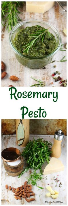 Rosemary Pesto Recipe ~ Adds flavor to so many dishes, from chicken to potatoes to soups or salad dressings! From MissintheKitchen.com