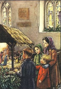 Cicely Mary Barker - Religious Works - Christmas Card Design for Barton-Colton Inc Painting Christmas Scenes, Christmas Nativity, Christmas Past, Christmas Pictures, Christmas Bells, Xmas, Cicely Mary Barker, Illustration Noel, Christmas Illustration