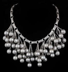Stupendous Mexican Silver Bib Necklace Heavy Brushed Beads Cascade Taxco Mexico   eBay