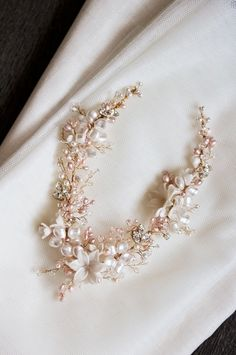 Bespoke for Ana_gold and blush bridal headpiece