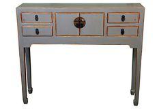 4-Drawer Console Table, Gray on OneKingsLane.com