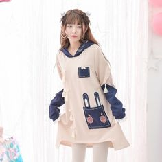 Mori Girl Dress Dress on Mori Girl の森ガール.Mori Indie Cute Bunny Patchwork Dress Emo Contrast Hoodie get yourself ready to look cute.