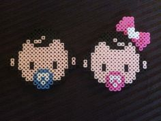 Baby girl and baby boy twin perler beads by Jennifer Tate
