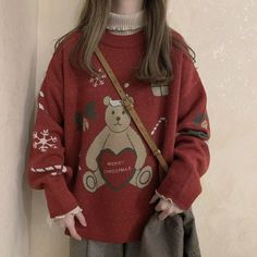 Winter Women Sweaters Streetwear O-neck Loose Pullovers Korean Chic Knitted Jumpers Vintage Ugly Christmas Sweater Aesthetic Sweaters, Aesthetic Clothes, Cute Christmas Sweater, Merry Christmas, Xmas, Pretty Outfits, Cute Outfits, Fairy Clothes, Korean Outfits