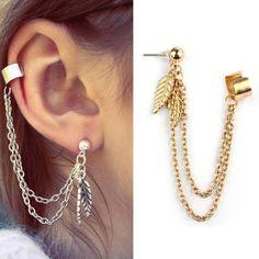 Gold Cheap Earrings Punk Personality Clip Tassel leaf Charm Metal Ear Clip Stud Earring Stud Earring Free Shipping