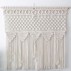 Tribal Party macrame wall hanging, Pattern and design is unique one of a kind. Hand made from natural cotton rope. We take all custom orders and we are open to Macrame Owl, Macrame Knots, Micro Macrame, Diy And Crafts, Arts And Crafts, Macrame Curtain, Macrame Projects, Macrame Patterns, Dorm Decorations