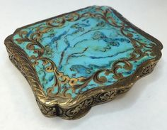 Vintage Turquoise Blue Gold Inlay Vanity Compact Mirror MADE IN ITALY Hutzler s