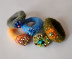 Embroidered and beaded needle felted rings