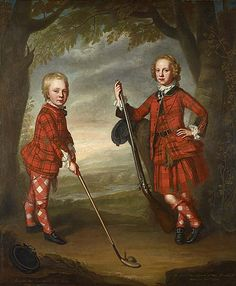 Sir James Macdonald 1741-1765 & Sir Alexander Macdonald 1744-1810 c.1749 by William Mosman. James on the right & Alexander on the left, were the sons of Sir Alexander Macdonald of Macdonald, a great Highland chieftain with estates on the Isle of Skye. James is shown with his gun, Alexander is playing golf. Golf was already a well-established pastime in Scotland. The children wear 3 different tartan patterns between them, as clan patterns were not established until the end of the 18thC