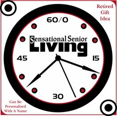 Senior Retirement Wall Decor Clock Gift Idea Can Be Personalized With A Name. Your Choice Of Three Styles.Simply Southern Gift