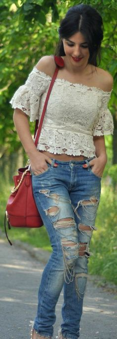 Denim Jeans With Lace Top