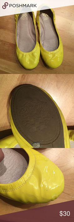 Vince Camuto flats Bright yellow shiny Vince Camuto flats. Only worn a couple times and very comfy! Only one or two small and unnoticeable scuffs. Vince Camuto Shoes Flats & Loafers