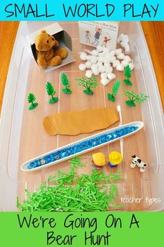 We're Going on a Bear Hunt Story Sensory Bin for Small World Play – Homeschool Creations We're Going on a Bear Hunt Story Sensory Bin for Small World Play Love this for toddlers and preschoolers – We're Going On A Bear Hunt Small World Play Idea Toddlers And Preschoolers, Sensory Bins, Sensory Play, Toddler Preschool, Toddler Activities, Summer Activities, Family Activities, World Book Day Activities, Indoor Activities