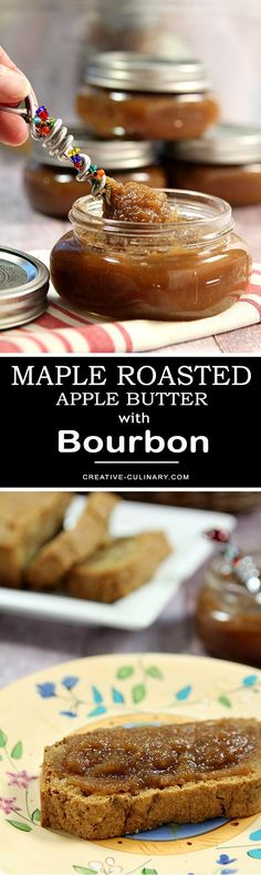 Apple butter is easy to make and so delicious. Add a bit of maple syrup and bourbon and this Maple Roasted Apple Butter with Bourbon is the BEST! Roasted Apples, Party Food And Drinks, Apple Recipes, Bourbon Recipes, Apple Butter, Breakfast Dessert, Spring Recipes, Morning Food, Delicious Desserts
