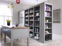 Pretty Gray Shelves And Long Legged Island Bespoke Kitchens By Holloways Of Ludlow Alex Double Sided Bookcase Inspiration