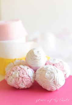 Crepe paper rose eggs by Place of My Taste for UCreate