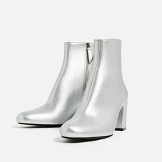 Laminated High Heel Ankle Boots | Zara