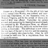 7/4/1853 murder of John Worley