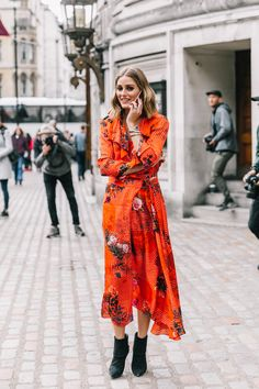 Olivia Palermo wearing orange dress ✨