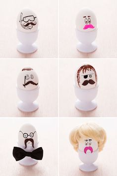 How funny are these mustached Easter eggs?