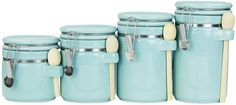 Turquoise 4-Piece Ceramic Canister Set - for home and kitchen - so lovely! #turquoise #kitchenaccessories #homedecor