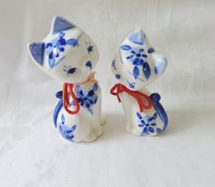 Elesva Holland Delft blue cat figurines 2 flirts vintage cm1483