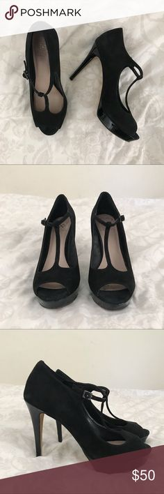 4022c62bb24 Vince camuto - suede t strap platform heel This item has been used. black.