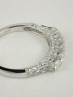 Antique Style 5 Stone Diamond Wedding Ring