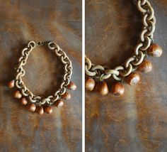 vintage 1930s necklace / 1930s hazelnut and by honeytalkvintage