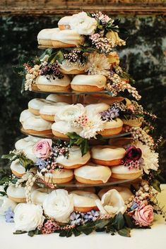 Home Remodel Grey non traditional wedding dessert ideas white donuts tower with roses dahlias and greenery paulbamford.Home Remodel Grey non traditional wedding dessert ideas white donuts tower with roses dahlias and greenery paulbamford Wedding Donuts, Wedding Desserts, Wedding Favors, Wedding Cakes, Wedding Decorations, Donut Wedding Cake, Wedding Invitations, Wedding Centerpieces, Plan Your Wedding