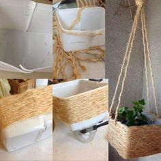 Sisal, Rope Crafts, Diy Arts And Crafts, Diy Crafts, Ideias Diy, Diy Planters, Easy Home Decor, Diy Garden Decor, Ladder Decor