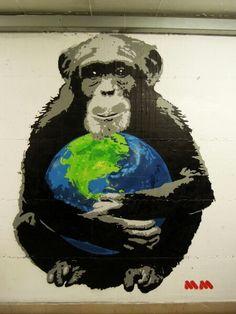 I Care #chimpanzee #murales #milan #streetart #graffiti #graffitiart #world #stencil