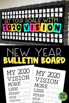 New Year Bulletin Board Encourage students to set goals with 2020 vision! This classroom decoration is perfect for the new year. It includes student vision goal setting sheets to display. Easy to print, cut, and hang to make an awesome display! Elementary Bulletin Boards, Interactive Bulletin Boards, Reading Bulletin Boards, Bulletin Board Letters, Bulletin Board Display, Classroom Bulletin Boards, Classroom Decor, Preschool Bulletin, Classroom Organisation