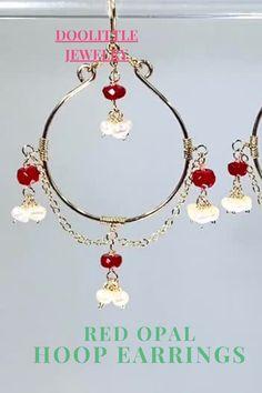 Dainty Earrings, Gold Hoop Earrings, Earrings Handmade, Dangle Earrings, Red Opal, Ruby Red, Special Deals, Opals, Gift Cards