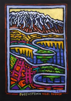 'Queenstown' by Nigel Brown Element: Size, Form, pattern, Shape Principle: Value, Unity, Rhythm, Variety, Symmetry