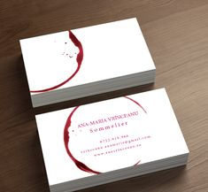Wine stains all over the sommelier's business card design .
