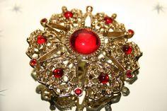 Vintage Large Gold Coloured & Red Diamantes Star by GillardAndMay