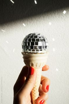 shiny disco ball ice cream cone by Sonja Lekovic - Stocksy United Roller Disco, Dona Summer, Ice Cream Art, Disco Party, Disco Disco, Disco Theme, Mirror Ball, Gelato, Bunt