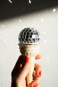 disco ball ice cream cone by sonjalekovic | Stocksy United
