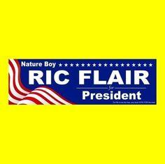 "New ""NATURE BOY RIC FLAIR FOR PRESIDENT"" nwa wcw wwf wwe BUMPER STICKER funny"