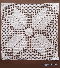 Vintage Crochet Tablecloth or Throw With Medieval Cross Pattern, Milk White Cotton Yarn Crochet Bedspread Pattern, Crotchet Patterns, Crochet Square Patterns, Crochet Cushions, Crochet Blocks, Crochet Tablecloth, Crochet Diagram, Crochet Squares, Filet Crochet