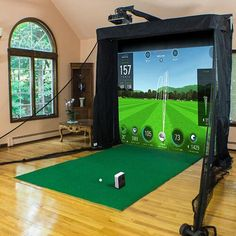 SkyTrak Golf Simulator Packages For Sale - Shop Indoor Golf Home Golf Simulator, Indoor Golf Simulator, Golf Hitting Mats, Golf Practice Net, Golf Mk4, Golf Room, Golf Simulators, Golf Training, Golf Ball